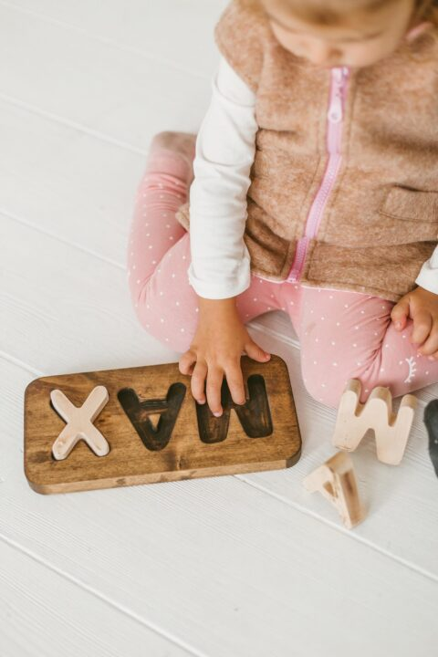 Wooden custom / personalized name puzzle by Woodniout Montessori toys