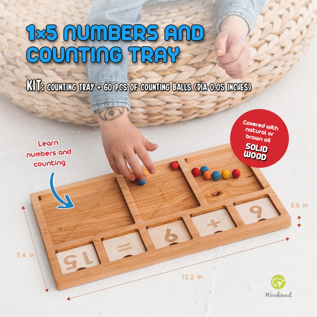 Montessori math material Wooden counting tray 1x5