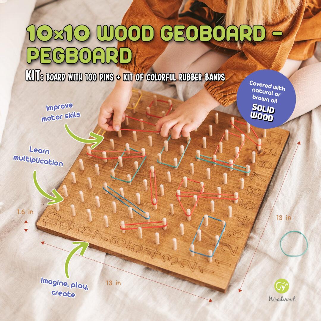 10x10 wood pegboard - wooden Geoboard