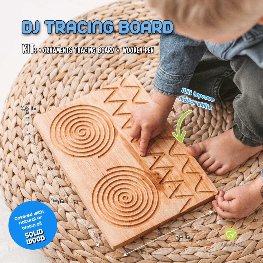 Tracing shapes - circle and lines for toddlers by Woodinout Montessori toys