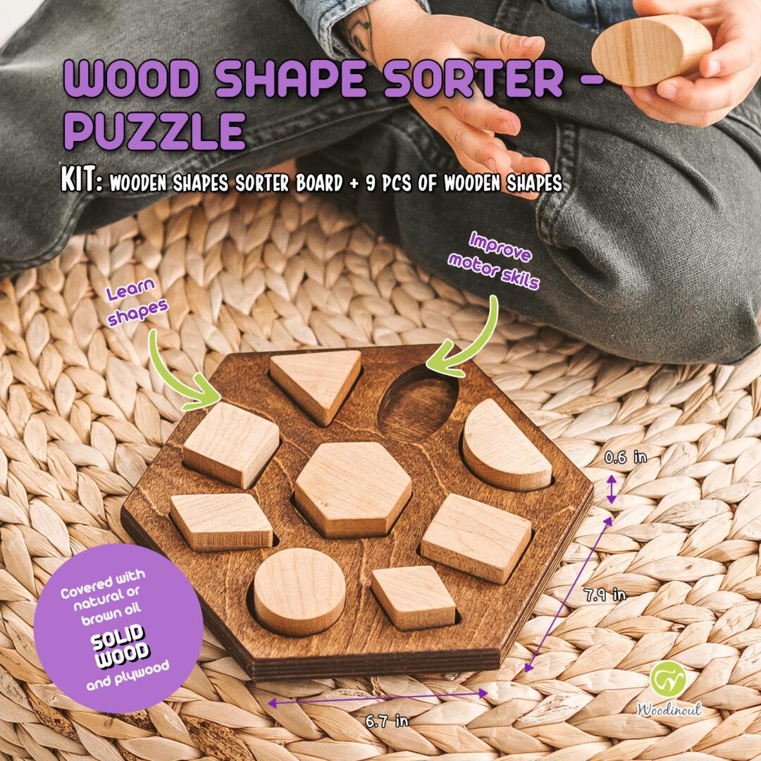 Wooden shape sorter by Woodinout Montessori toys