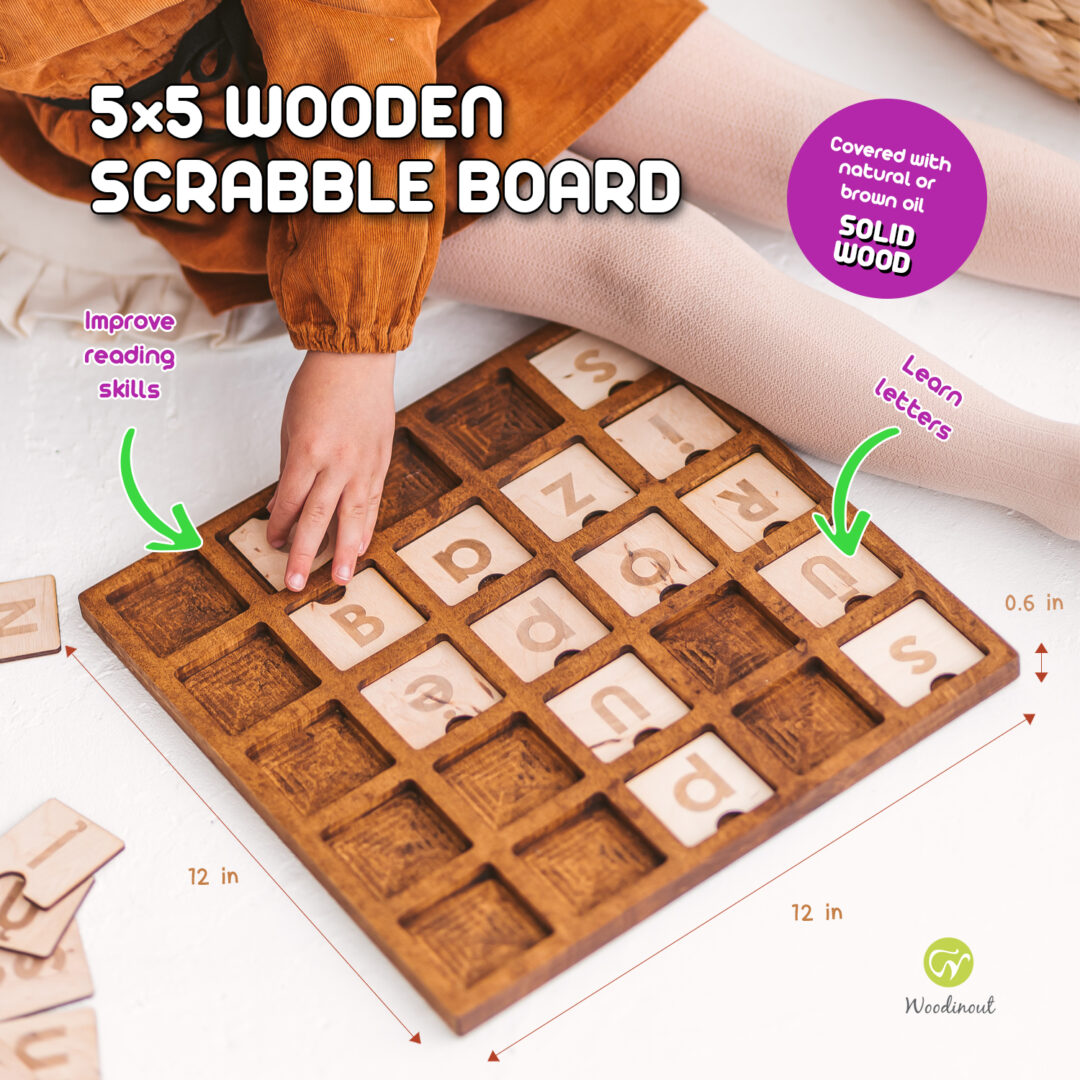 Big 5x5 Wooden junior scrabble board - spelling game by Woodinout Learning toys