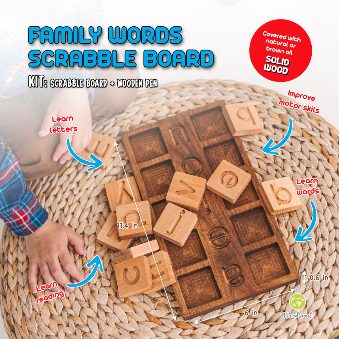 family words. Wooden junior scrabble board - spelling game by Woodinout Learning toys