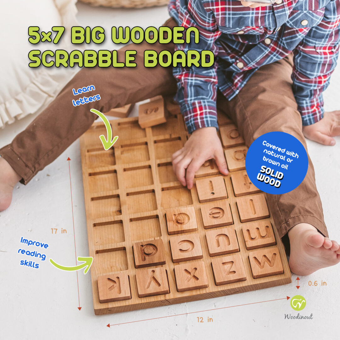 Big 5x7 Wooden junior scrabble board - spelling game by Woodinout Learning toys