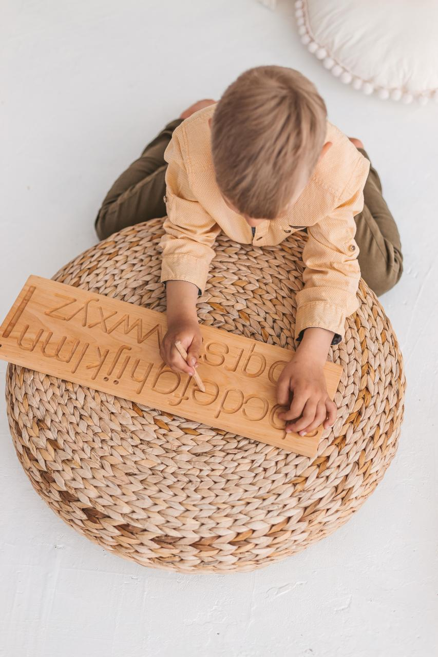 Wooden alphabet tracing board, letters a-z by Woodinout