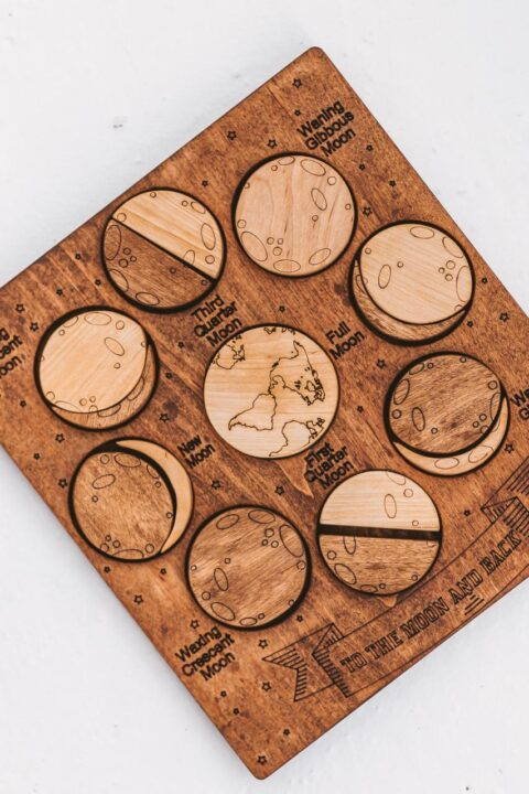 Wooden moon phase toy for kids by Woodinout Montessori Learning toys