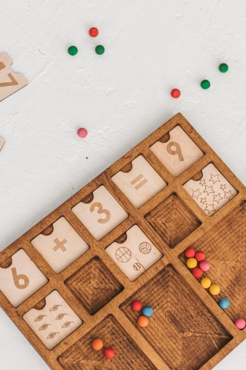 Montessori math material Wooden counting tray 2x5