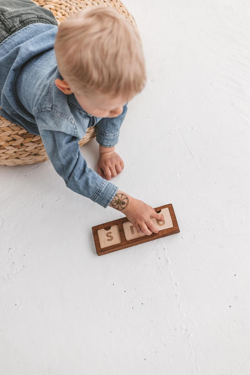 Wooden junior scrabble boards kit - spelling game by Woodinout Learning toys