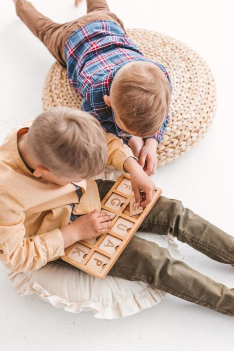 Wooden junior scrabble board 2x5 - spelling game by Woodinout Learning toys