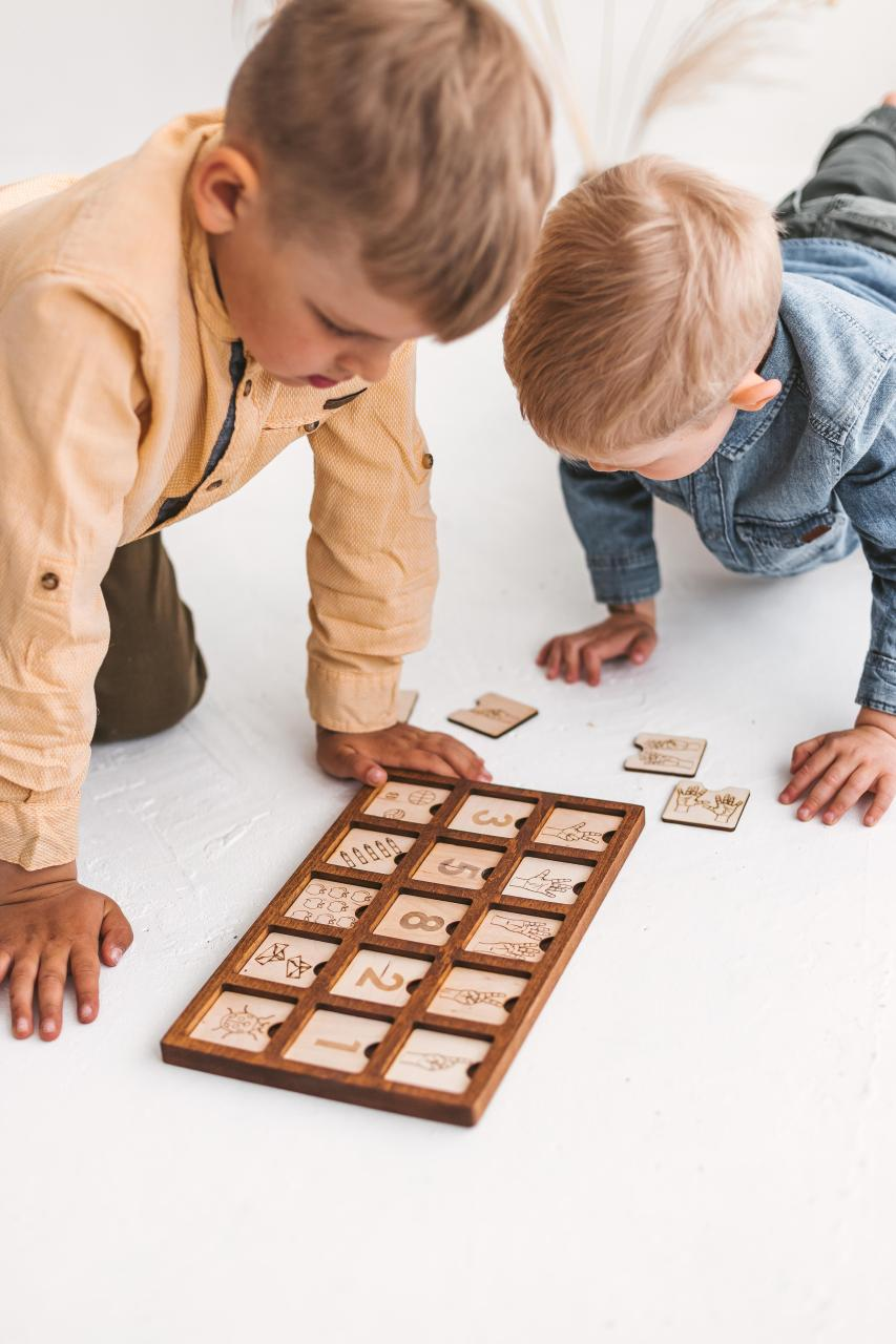 Wooden junior scrabble board 3x5 - spelling game by Woodinout Learning toys