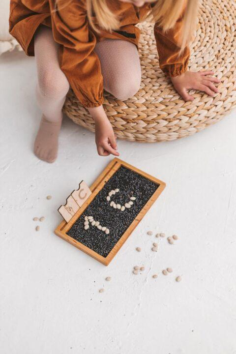 Wooden Montessori sand tray