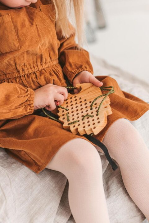Wooden lacing toy - Hedgehog toy by Woodinout Montessori