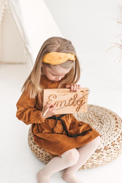 Personalized tracing your name board, wooden