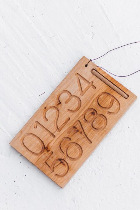 Tracing numbers 1 to 10 - wooden board by Woodinout learning toys