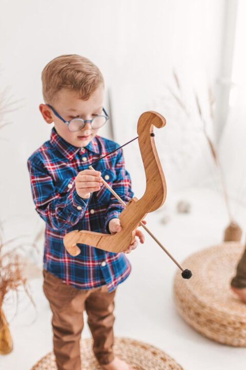 Wooden archery bow and arrows toy