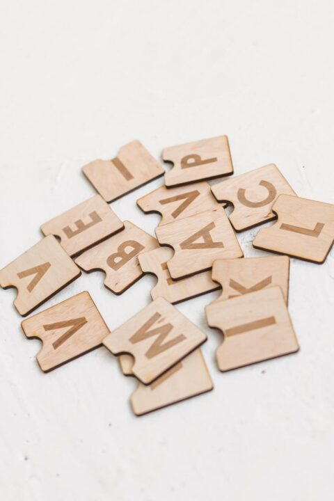Wooden alphabet blocks by Woodinout learning toys
