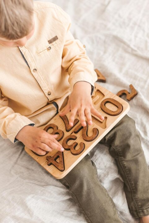 natural Wooden Numbers Puzzle. Montessori math material for Valuable family time